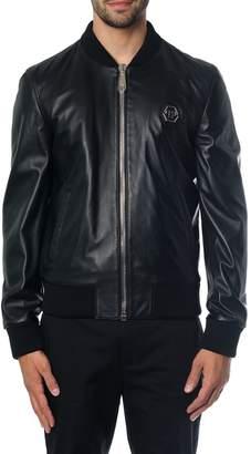 Philipp Plein Black Bomber In Leather