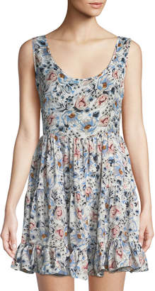 Glamorous Floral Crisscross-Back Fit-and-Flare Dress