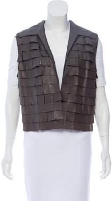 Akris Tailored Leather Paneled Vest