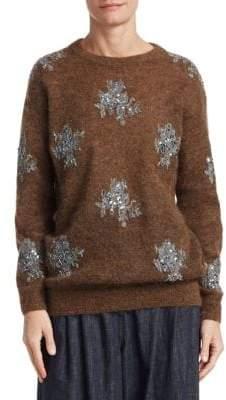Brunello Cucinelli Alpaca& Mohair Glitter Lace Sweater