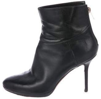 Jimmy Choo Leather Semi Pointed-Toe Ankle Boots