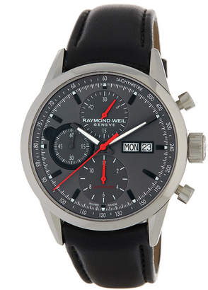 Raymond Weil Men's Chronograph Leather Watch $2,950 thestylecure.com