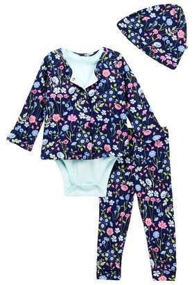 Offspring Garden Navy Reversible Jacket, Bodysuit, Pants, & Hat Set (Baby Girls)