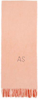 Acne Studios (アクネ ストゥディオズ) - Acne Studios ピンク and オフホワイト Kelow マフラー