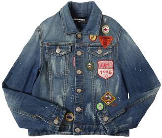 DSQUARED2 Stretch Cotton Denim Jacket W/ Patches