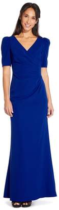Adrianna Papell Womens Blue Elbow Sleeve Long Gown Dress - Blue