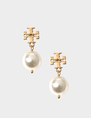 Tory Burch Crystal Pearl Drop Earrings in Ivory Brass and Swarovski Crystal