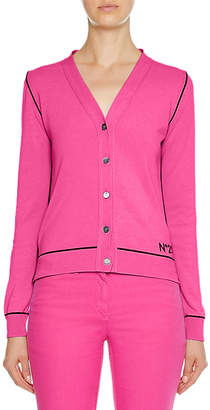 V-Neck Button-Front Cotton Cardigan