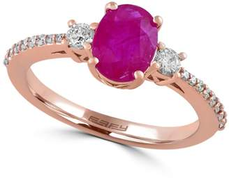 Effy 0.29 CT. T.W. Diamond and Ruby 14K Rose Gold Ring
