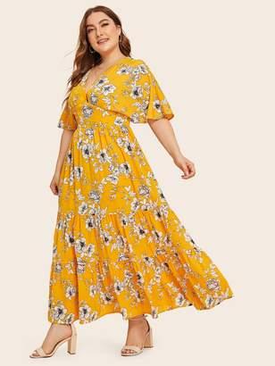 Shein Plus Deep V neck Floral Print Ruffle Hem Dress