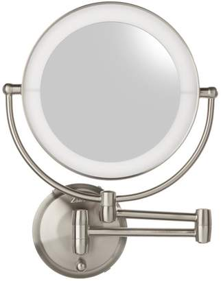 Zadro LED Lighted Round Wall Mount Mirror - Satin Nickel