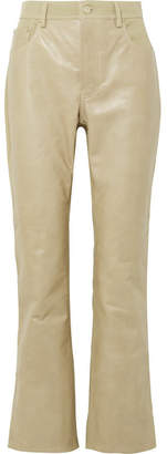 Acne Studios Paneled Leather And Cotton-blend Twill Flared Pants - Beige