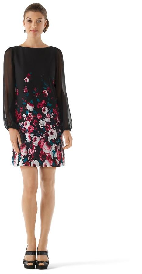 White House Black Market Chiffon Sleeve Floral Dress
