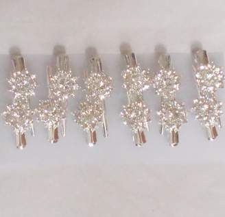 styling/ Gita Set of Six Simulated Ivory Pearls Crystals on Silver Plated Hair Clips on Barrettes for Children Teens and Women