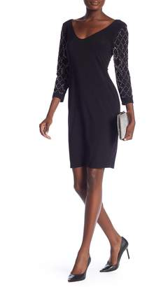 Marina V-Neck 3/4 Sleeve Beaded Dress