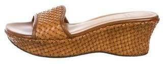 Stuart Weitzman Woven Leather Slide Sandals