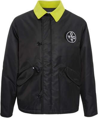 Off-White Two-Tone Appliquéd Shell Jacket