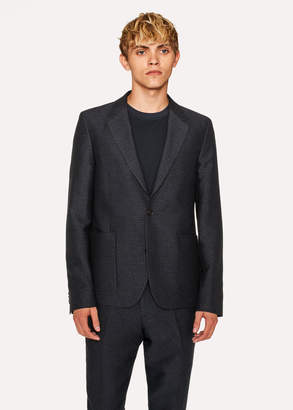 Paul Smith Men's Mid-Fit Dark Navy Textured-Check Wool-Blend Unlined Blazer