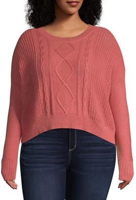 Arizona Long Sleeve Crew Neck Pullover Sweater-Juniors Plus