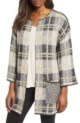 Wit & Wisdom Reversible Plaid Jacquard Sweater Jacket