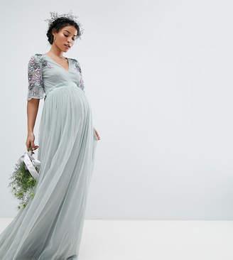 49ef0f1e177 Maya Maternity Embellished Tulle Sleeve Maxi Tulle Dress