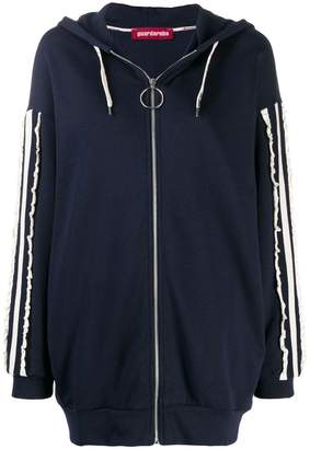 Guardaroba contrast ruched stripes hoodie