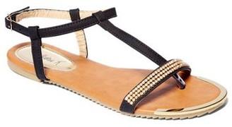 Gold Toe Victoria K Women Rhinestone On Strap With Sandals