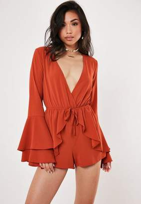 Missguided Rust Wrap Long Sleeve Tie Waist Romper