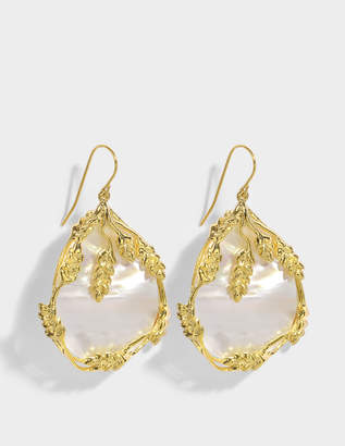 Aurelie Bidermann Francoise Pendant Earrings in 18K Gold-Plated Brass and Mother of Pearl