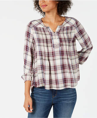 Style&Co. Style & Co Plaid Pintucked Peasant Top, Created for Macy's