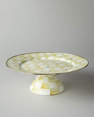 Mackenzie Childs MacKenzie-Childs Parchment Check Large Pedestal Platter