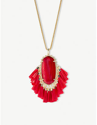 Kendra Scott Betsy 14ct gold-plated red Mother of Pearl tassel necklace