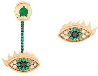 Delfina Delettrez 'Eyes on me' diamond and emeralds earrings
