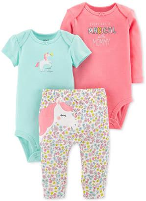 Carter's Baby Girls 3-Pc. Cotton Unicorn Bodysuits & Pants Set