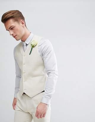 Asos DESIGN Wedding Super Skinny Suit Vest In Stone Linen