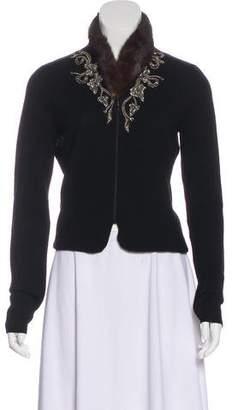 Blumarine Fur-Trimmed Virgin Wool Cardigan