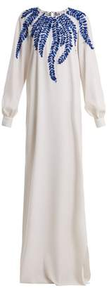 Oscar de la Renta Fern Embroidered Round Neck Silk Blend Gown - Womens - White Multi