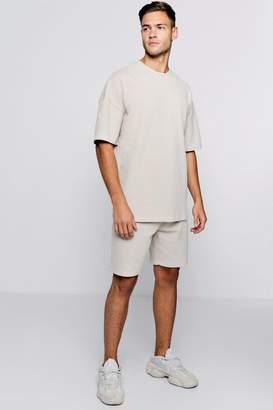 boohoo Pique Drop Shoulder T-Shirt & Short Set