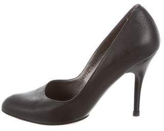 Salvatore Ferragamo Leather Round-Toe Pumps