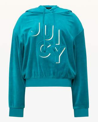 Juicy Couture Embossed Juicy Velour Hooded Pullover