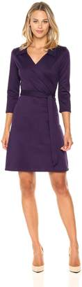 Star Vixen Women's Stretch Ponte Knit Classic Fauxwrap Dress with Collar