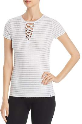 Andrew Marc Performance Striped Lace-Up Tee