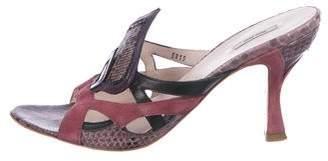 Miu Miu Suede Snakeskin-Accented Sandals