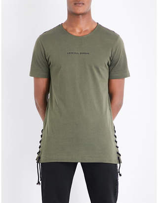 Criminal Damage Lace-up cotton-jersey T-shirt