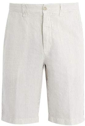 120% Lino Straight Leg Linen Shorts - Mens - White Multi
