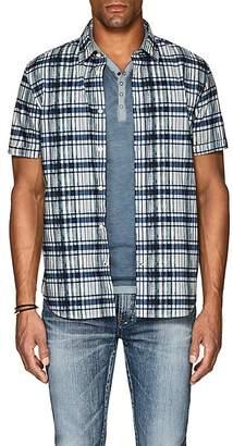John Varvatos Men's Plaid Cotton Poplin Shirt