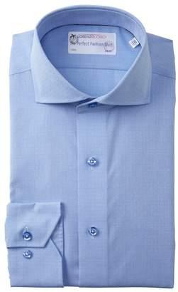 Lorenzo Uomo Solid Dobby Dot Trim Fit Dress Shirt