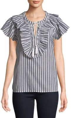 Lord & Taylor Plus Striped Ruffle Blouse