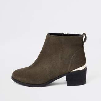 River Island Khaki green faux suede ankle boots