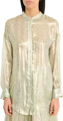 Forte Forte Forte_Forte Silk Chiffon Henley Shirt With Uderwater Love Print